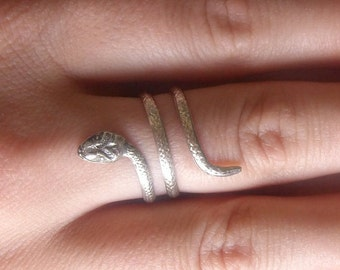 Double Coil Snake Ring in Sterling Silver, Animal Ring, Silver Snake, Animal Rings Series, Georgian Snake Ring,  Wrap Around Snake Ring