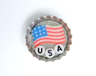 Bottle Cap Magnet - USA - Single Magnet