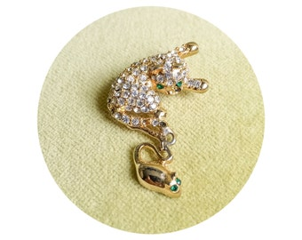 Vintage Cat and Mouse Brooch Pin Rhinestone Gold Tone Animal Jewelry Faux Green Emerald and Diamond Kitten Costume Jewels Kitty Accessories