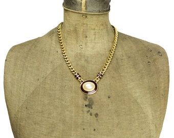 Red Enamel Gold Chain Necklace, Gold Chain Red Enamel Necklace, Gold Chain Necklace with Large Pearl