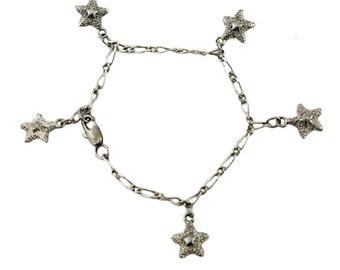 Silver Starfish Bracelet, Silver Star Bracelet, Silver Star Charm Bracelet, Silver Chain Bracelet