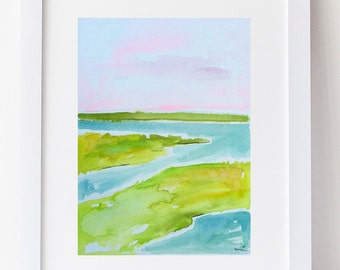 Marsh Watercolor painting aqua lime green original on paper