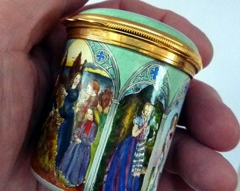 EXCEPTIONALLY RARE Vintage Halcyon Days Box. Pre-Raphaelite Paintings