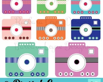 Digital Clipart Cameras, DIY Colorful Cameras, DIY Camera Invitations, DIY Flower Cameras, Scrapbooking Cameras