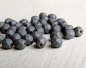 Titanium Matte Small Rounds - 4mm warm steel grey fire polished rounds (50), grey czech glass beads,faceted rounds, uk beads, grey beads