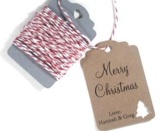 Christmas Gift Tags Set of 10 - Kraft Tags with Christmas Tree - Personalized Christmas Tags - Kraft Holiday Gift Tags - Christmas Tree Tags