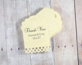 Personalized Antique Gold Wedding Tags Set of 20, Favor Tags, Bridal Shower Gift Tags, Custom Wedding Tags, Antique Gold Gift Tags