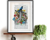 Anatomy Rib Cage Print Flower Bird Art Illustration Dictionary Page Vintage Drawing 1900 Doctor gift Illustration science Christmas gift him