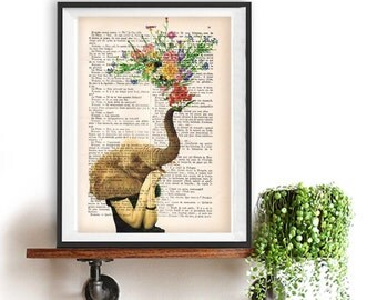 Lady Elephant seduce with Flowers - Love book print - Elephant in love - Printed over French vintage book page, Elephant art print