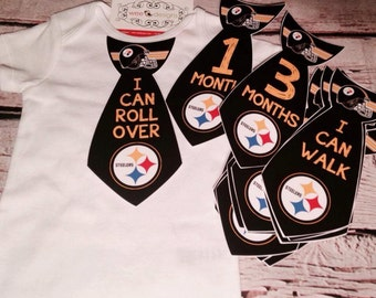 Steelers Baby Monthly Stickers - Monthly Sticker Ties - Monthly Ties