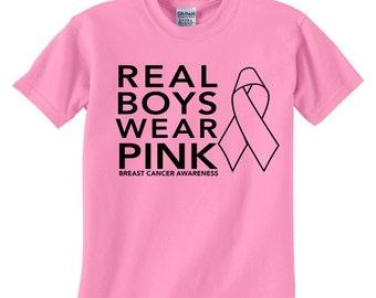 Real Boys Wear Pink - Breast Cancer Awareness - Boys Cancer Awareness Shirt