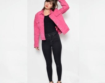 Vintage 90's Pink Suede Leather Jacket / Suede Button Pink Jacket - Size Large