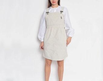 Vintage 90's Beige Corduroy Maternity Overalls Skirt