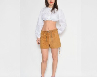 Vintage 70's Suede Leather Belted Shorts