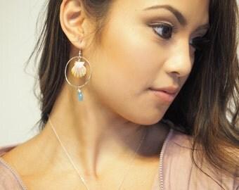 Sunrise Shell Necklace, Hawaii Sunrise Necklace, Hawaii Shell Necklace, Shell Necklace, Chalcedony Necklace, Gemstone Necklace