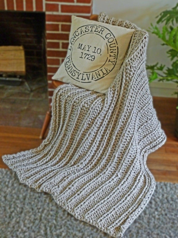 Chunky Blanket Knitting Pattern Chunky Knit Throw Pattern