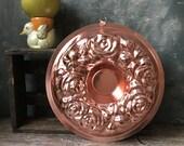 Pink Aluminum Mid Century Jello Mold Roses Design: 1960s Vintage Kitchenware, Retro Copper Jelly Mold, Kitchen Decor