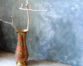 Vintage Brass Vase: Etched Solid Brass Vase, India Brass Tall Vase, Boho Decor