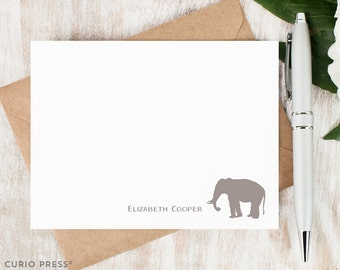 Personalized Notecard Set / Set of Flat Personalized Stationery Cards / Stationary Note Card Set / Monogram Thank You Notes // ELEPHANT