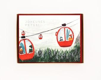 Box of 8 Gondola Holiday Cards - Joyeuses Fetes! - French Holiday Cards / HLY-GONDOLA-French-BOX