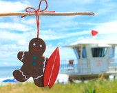 Surfer Gingerbread man tropical christmas ornament Gingerbread man with red surfboard Christmas gift ideas for surfers Surfing holiday decor