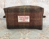 Harris tweed toiletry / wash bag in brown and green check