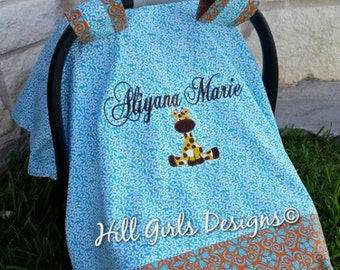 Baby car seat carrier blanket cover with monogram and applique
