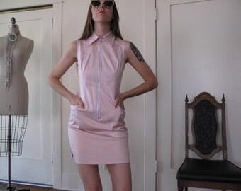 90's Courreges 21 Pink Zip Up Dress sz Sm