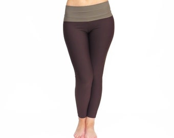 Brown Yoga Pants, High Waist Leggings, Cropped Yoga Pants, Custom Tights, Geek Leggings, Gym Pants, Yoga Clothing, Workout Wear