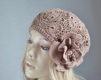 French beret Summer beret French summer beret Crochet hat women Crochet summer beret Summer hats women Lace summer hat Lace cotton beret