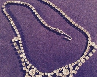 Vintage Rhinestone Necklace 1940's and 50's Excellent Condition