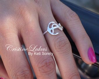 Sideways Anchor Ring with Rope Design - Celebrity Style Anchor Ring with cross - Sterling Silver or Solid White, Yellow or Rose Gold