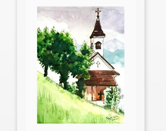 "Chruch painting, Austrian Watercolor Painting, Watercolors paintings original, Church, Austria - 9""x12"""