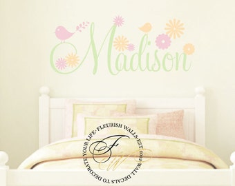 Girls Wall Decal - Personalized Name Wall Decal With Flowers & Birds For Baby Girl Nursery Playroom or Teen Bedroom Vinyl Wall Decor GN059