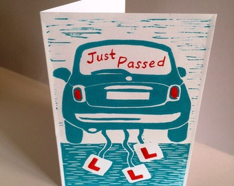 Driving Test Passed card (linocut)