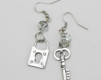 Mismatched Earrings, Lock and Key, Skeleton Key, Silver and Iridescent Glass