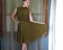 1960s Gold Pleated Dress Metallic Gold Dress 60s Shimmer Dress Mod Gogo Dress Betty Hartford Mock Turtleneck Twiggy Disco Glam