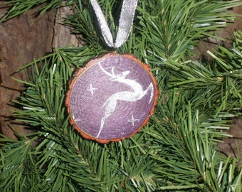 Rustic Christmas Ornament, Reclaimed Sassafras Tree Branch Slice with Reindeer, Purple and Silver