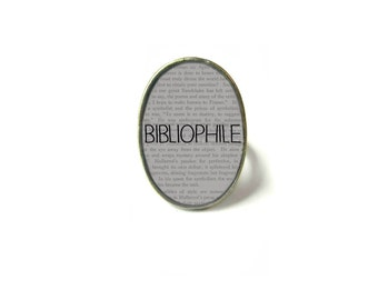 Adjustable Bibliophile Book Ring, Quote Jewelry, Book Page Jewelry, Bookworm Ring, Nerdy Book Jewelry, Book Page Ring, Book Lover Jewelry