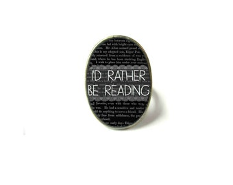 Black I'd Rather Be Reading Book Ring, Quote Jewelry, Book Page Jewelry Bookworm Ring, Nerdy Book Jewelry Book Page Ring, Book Lover Jewelry