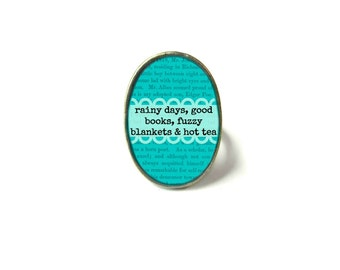 Teal Rainy Days Book Ring, Quote Jewelry, Book Page Jewelry Bookworm Ring, Nerdy Book Jewelry Book Page Ring, Book Lover Jewelry