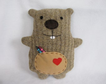 Happy Groundhog Plush Critter plush softie with pocket