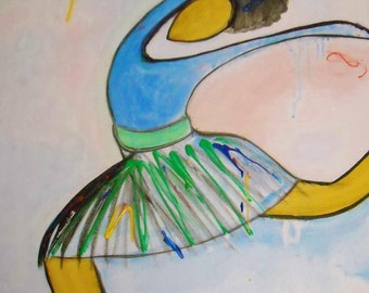 original 16x20 african american art abStract ballerina painting on canvas