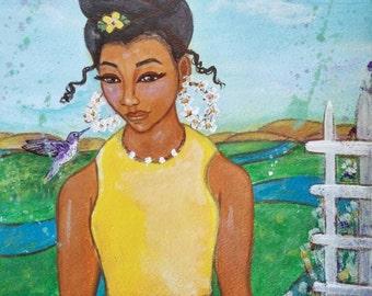 SWEET SUNSHINE 9x12 Original Modern African American portrait painting ArT