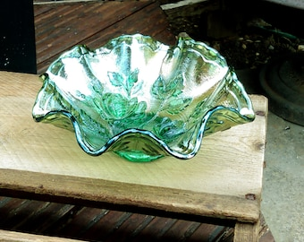 Vintage Imperial glass, Open rose, Helios green carnival glass, ruffled edge bowl, vintage glass bon bon dish ruffle edge Imperial open rose
