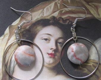 Redline Marble Hoop Earrings