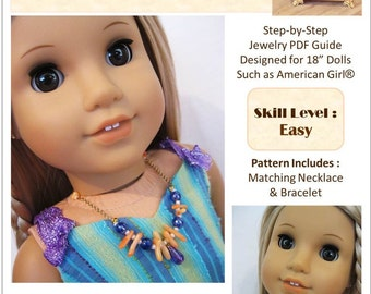 Pixie Faire Bling Bling Hello Coral Beach Jewelry Pattern for 18 inch American Girl Dolls - PDF