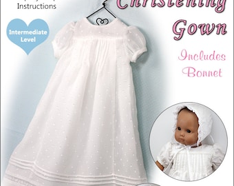 Pixie Faire Baby Mine Christening Gown Doll Clothes Pattern for 15 inch Bitty Baby Dolls - PDF
