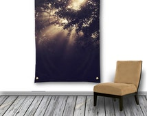 Tree Wall Tapestry, Etheral Wall Hanging, Sun Rays Through Trees Photo Tapestry, Tapestry Wall Hanging, Large Wall Decor, Floral Garden Flag