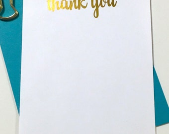 Gold Foil Thank You Cards - Gold Stationery - Calligraphy Thank You Cards - Calligraphy Stationary - Wedding Thank You Cards DM125
